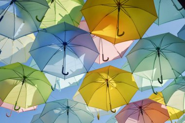 Beautiful colorful umbrellas decorative wall