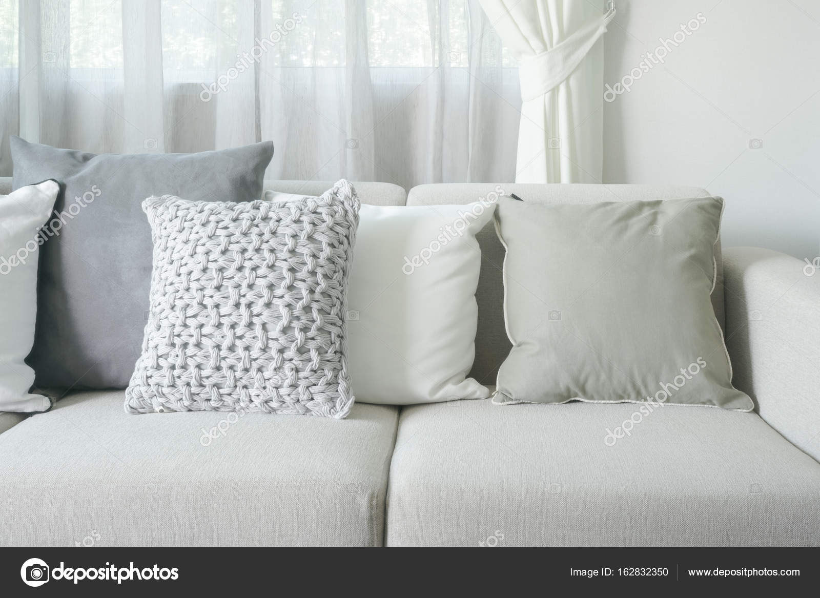 Light Gray Sofa Set With Pillows In Modern Interior Living Room
