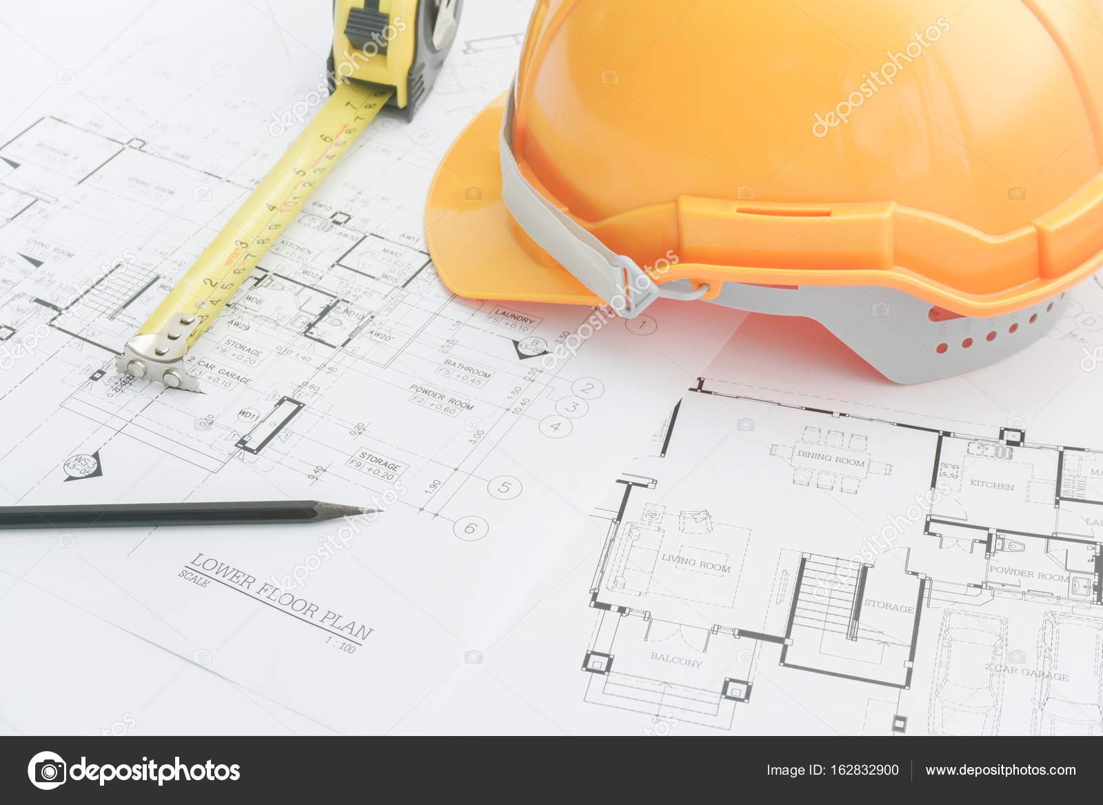 Architects Workplace Architectural Tools Blueprints Helmet Measuring Tape Diagram Construction Concept Engineering Photo By Worldwide Stock