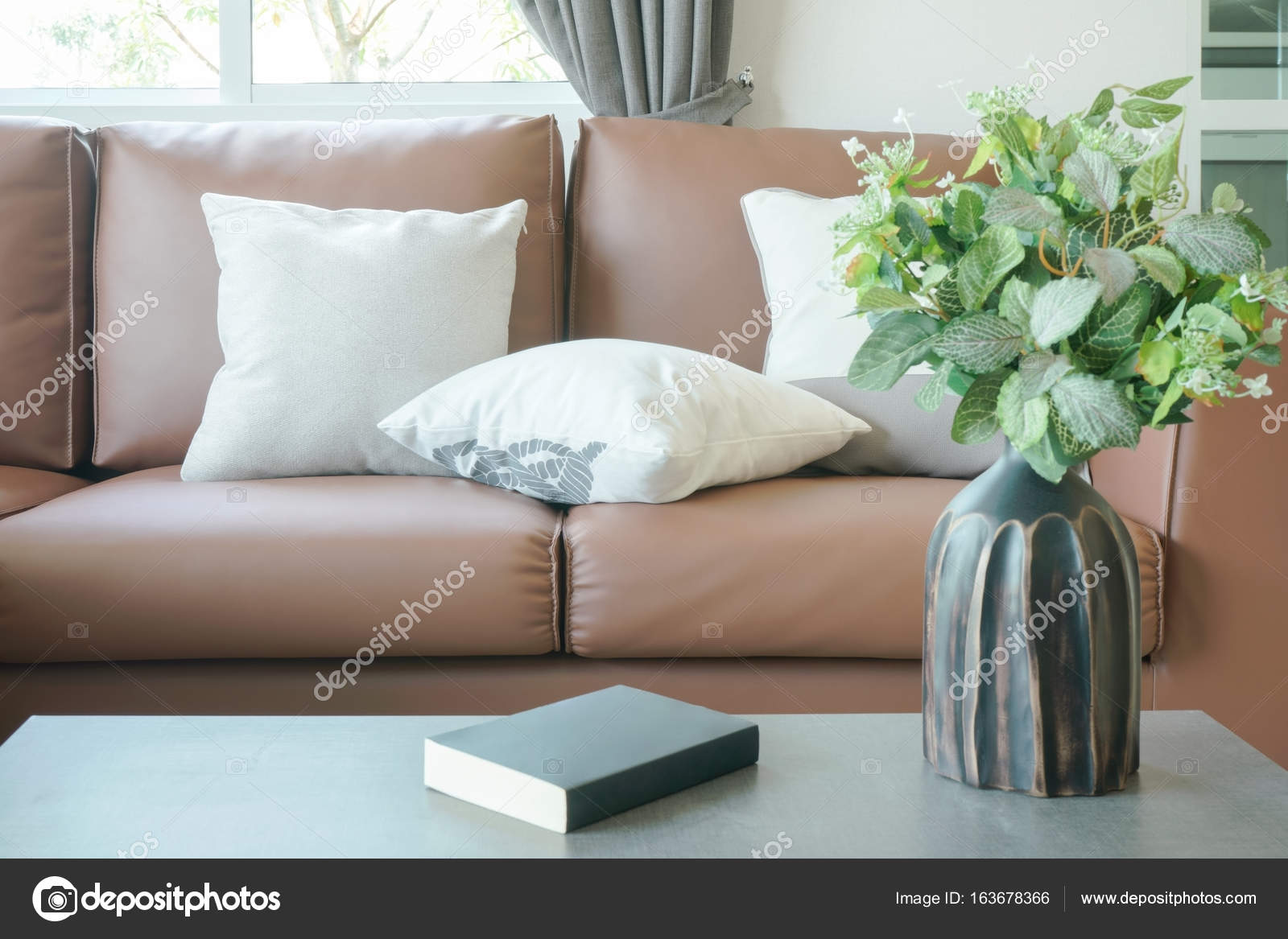 Light Brown Leather Sofa With Vase And Book On Center Table U2014 Stock Photo