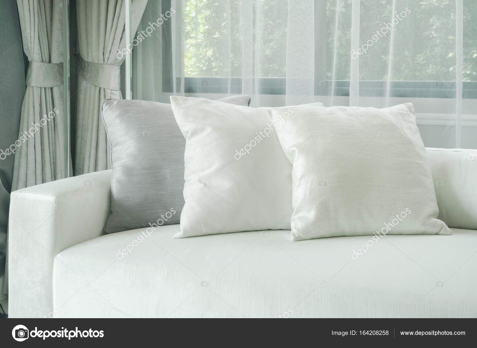 Awesome Pillows Lay On White Sofa With Sheer Curtain In Background Squirreltailoven Fun Painted Chair Ideas Images Squirreltailovenorg