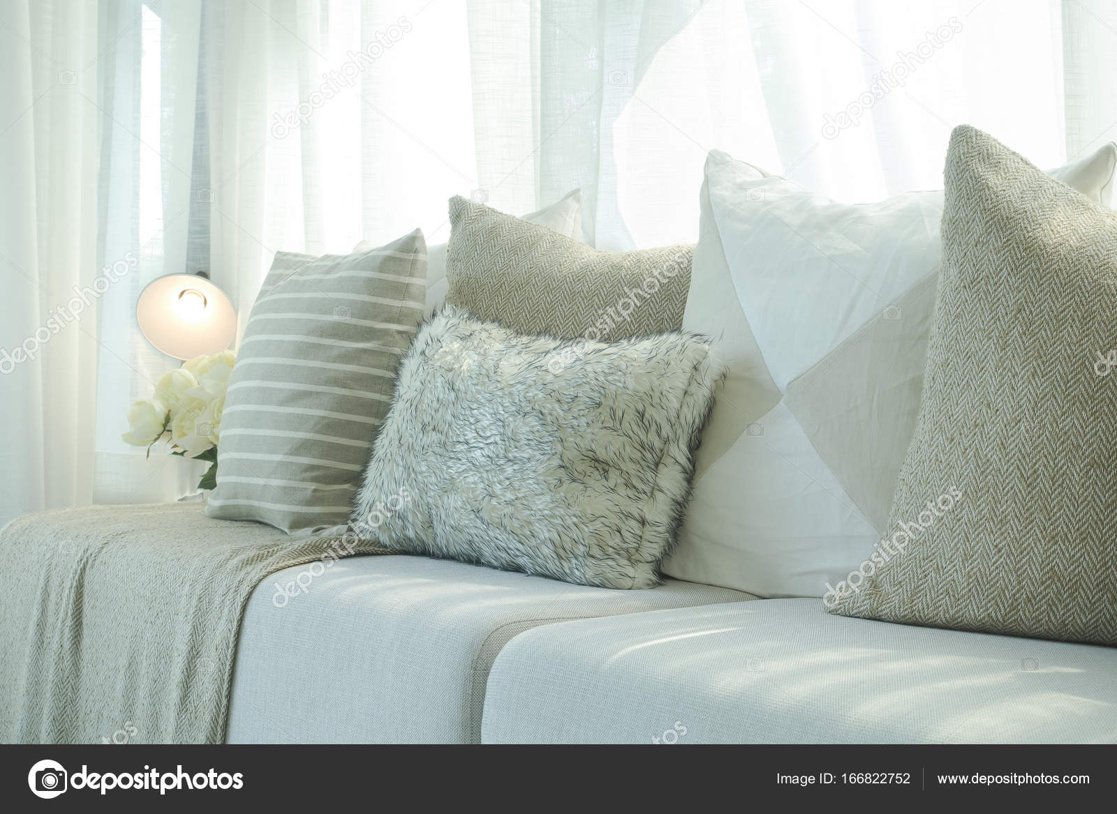 Admirable Pillows In Brown Color Scheme On Beige Sofa With Natural Uwap Interior Chair Design Uwaporg
