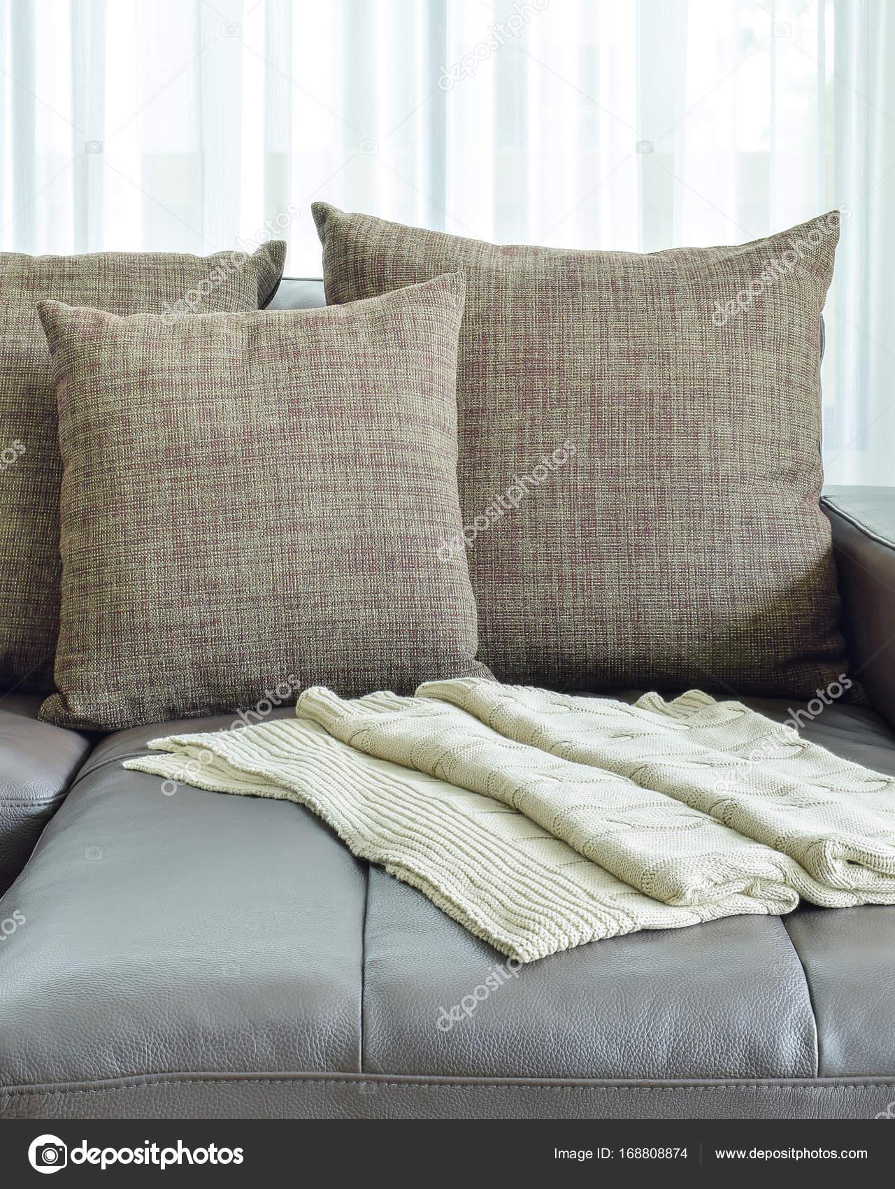 Graues Ledersofa Mit Textur Braune Kissen In Moderne Wohnzimmer U2014 Foto Von  WorldWide_Stock