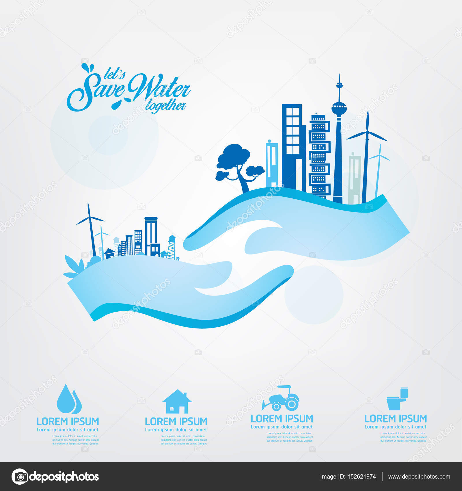 Save Water Template Concept Stock Vector C Space Vector 152621974
