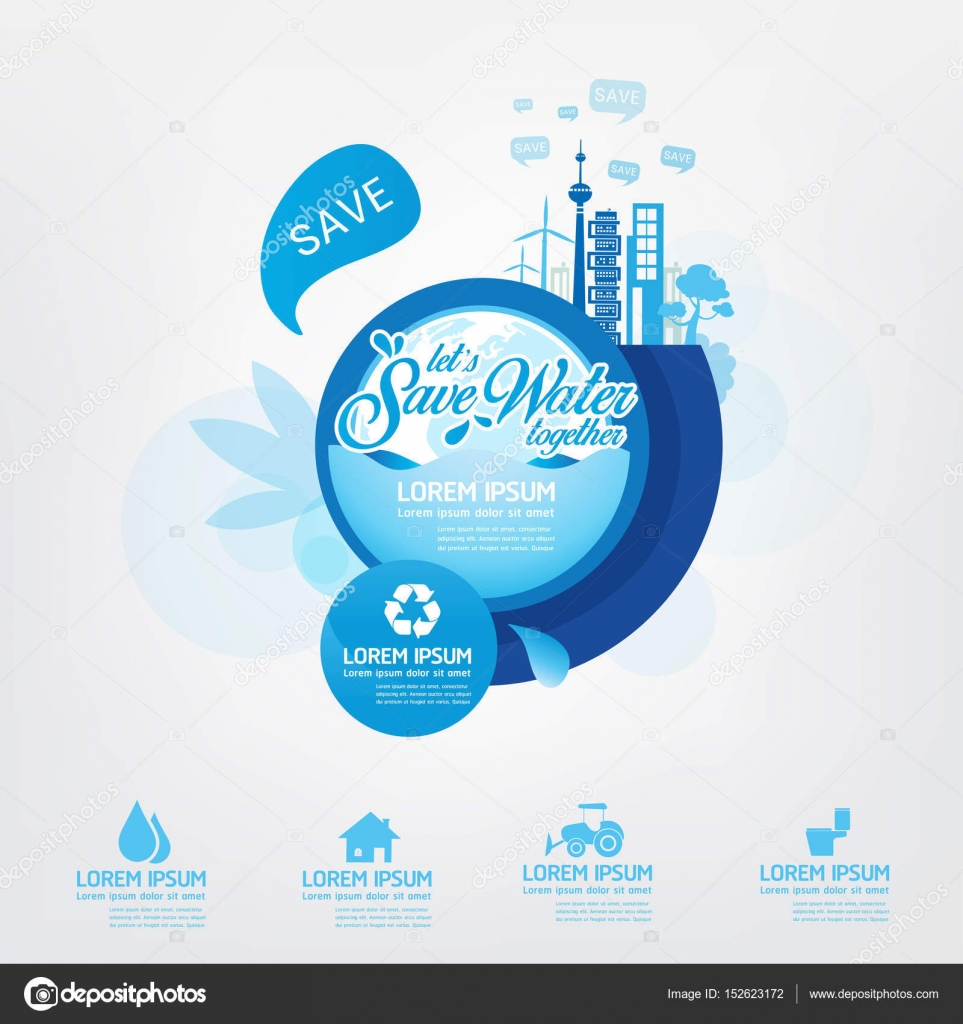 Save Water Template Concept Stock Vector C Space Vector 152623172