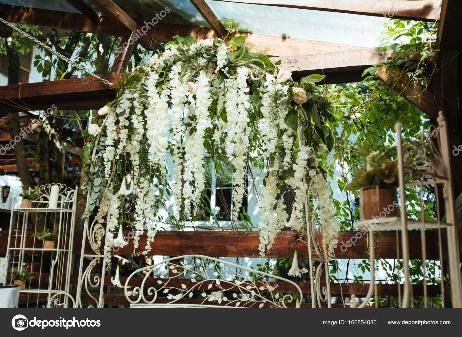 Wedding Arch Decorated With Hanging Flowers Stock Photo Roman