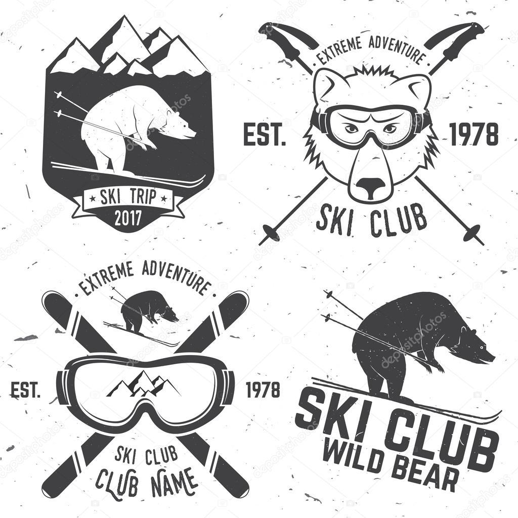 Ski Badge Collection: Vector Ski Club Retro Badge . Stock Vector Serdiuk.igor