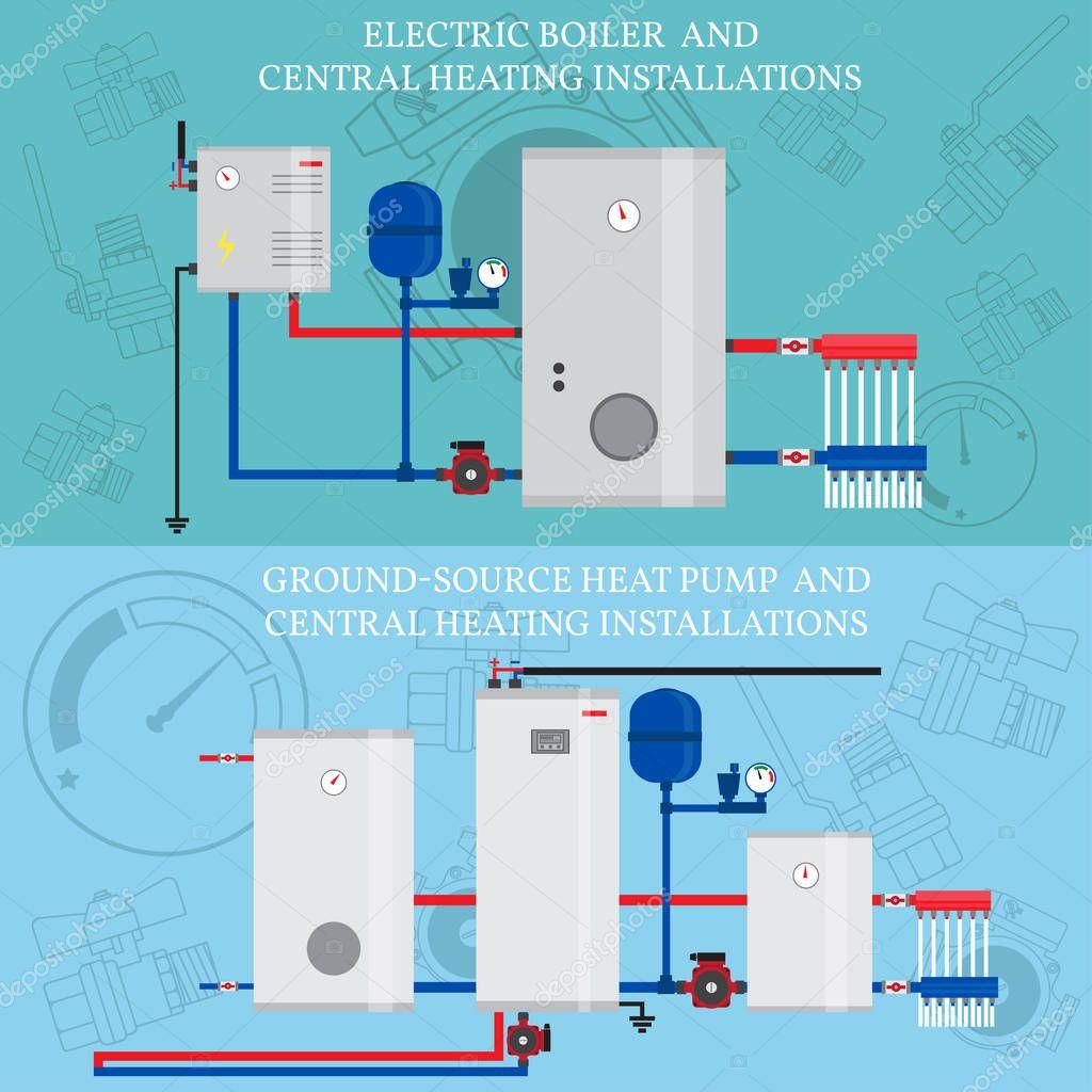 Gas-Heizkessel und Zentralheizung-Installationen — Stockvektor ...