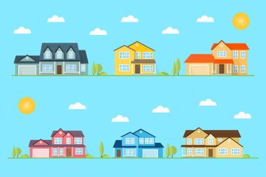 Neighborhood with homes illustrated on the blue background.