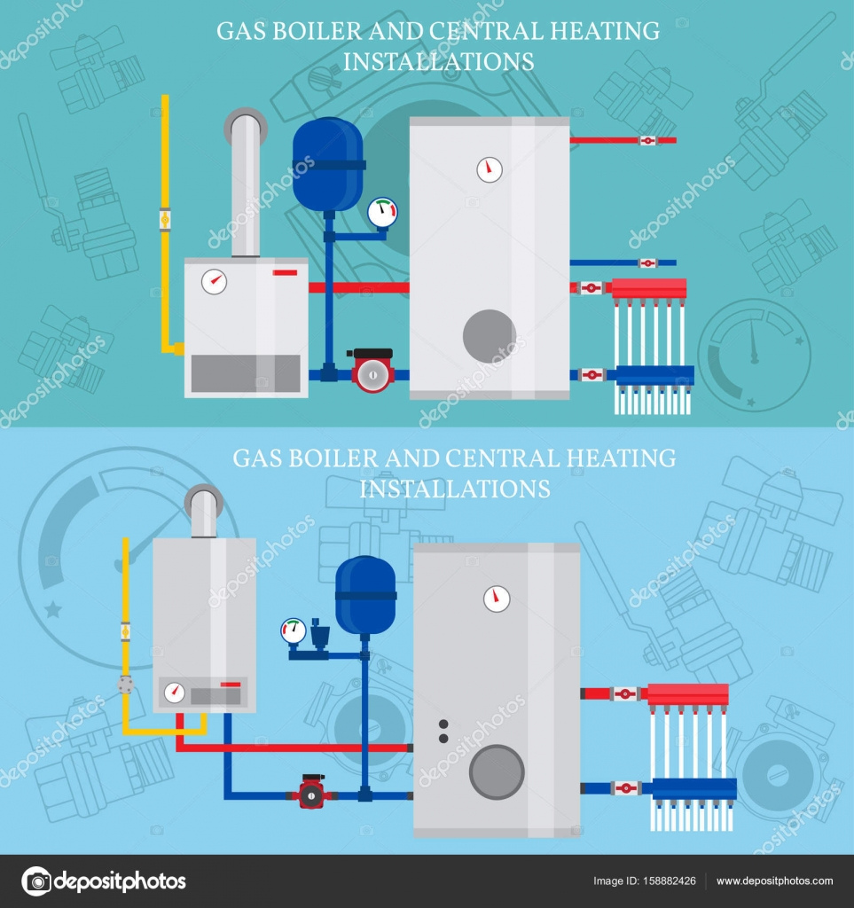 Boiler and central heating installations, flat heating conce — Stock ...