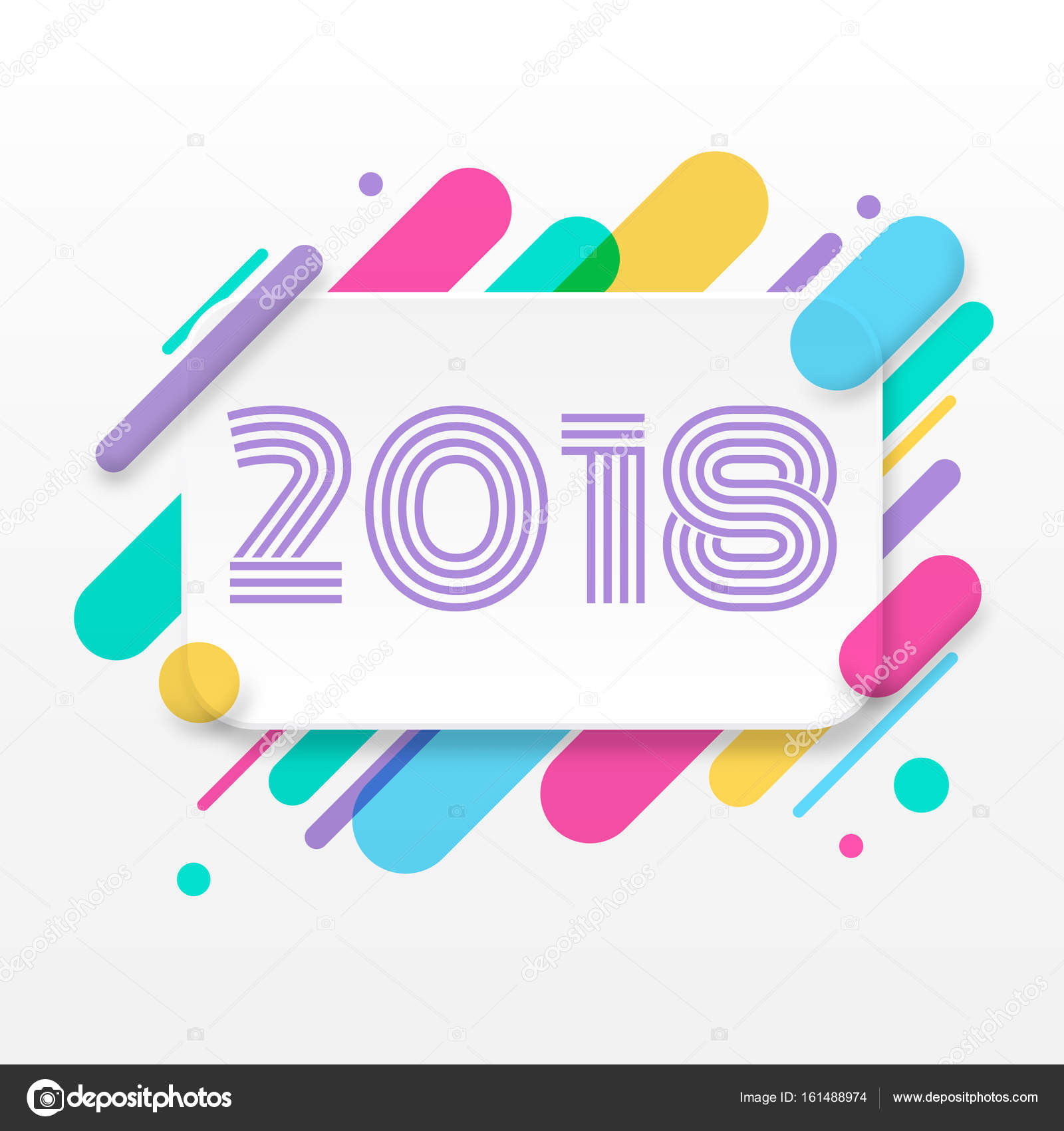 2018 happy new year greeting card stock vector serdiukigor 2018 happy new year greeting card with abstract colored rounded shapes lines in diagonal rhythm for greeting card poster brochure or flyer template kristyandbryce Choice Image