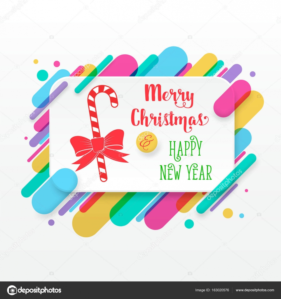 Merry christmas and happy new year greeting card stock vector merry christmas and happy new year greeting card with abstract colored rounded shapes lines in diagonal rhythm for greeting card poster brochure or flyer kristyandbryce Choice Image