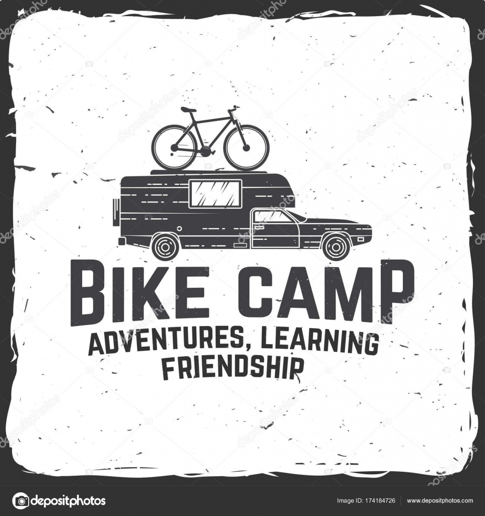 Vintage typography design with car and trailer, mountain bikes and ...