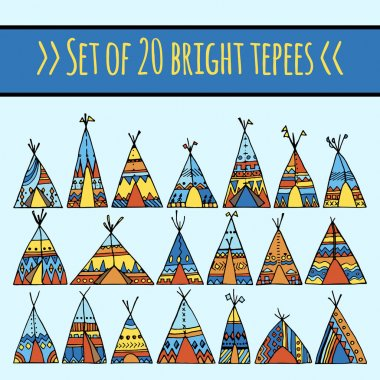 set of colorful tepees