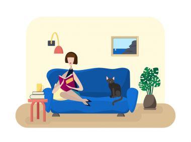 Girl reads in living room