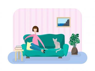 Girl in living room