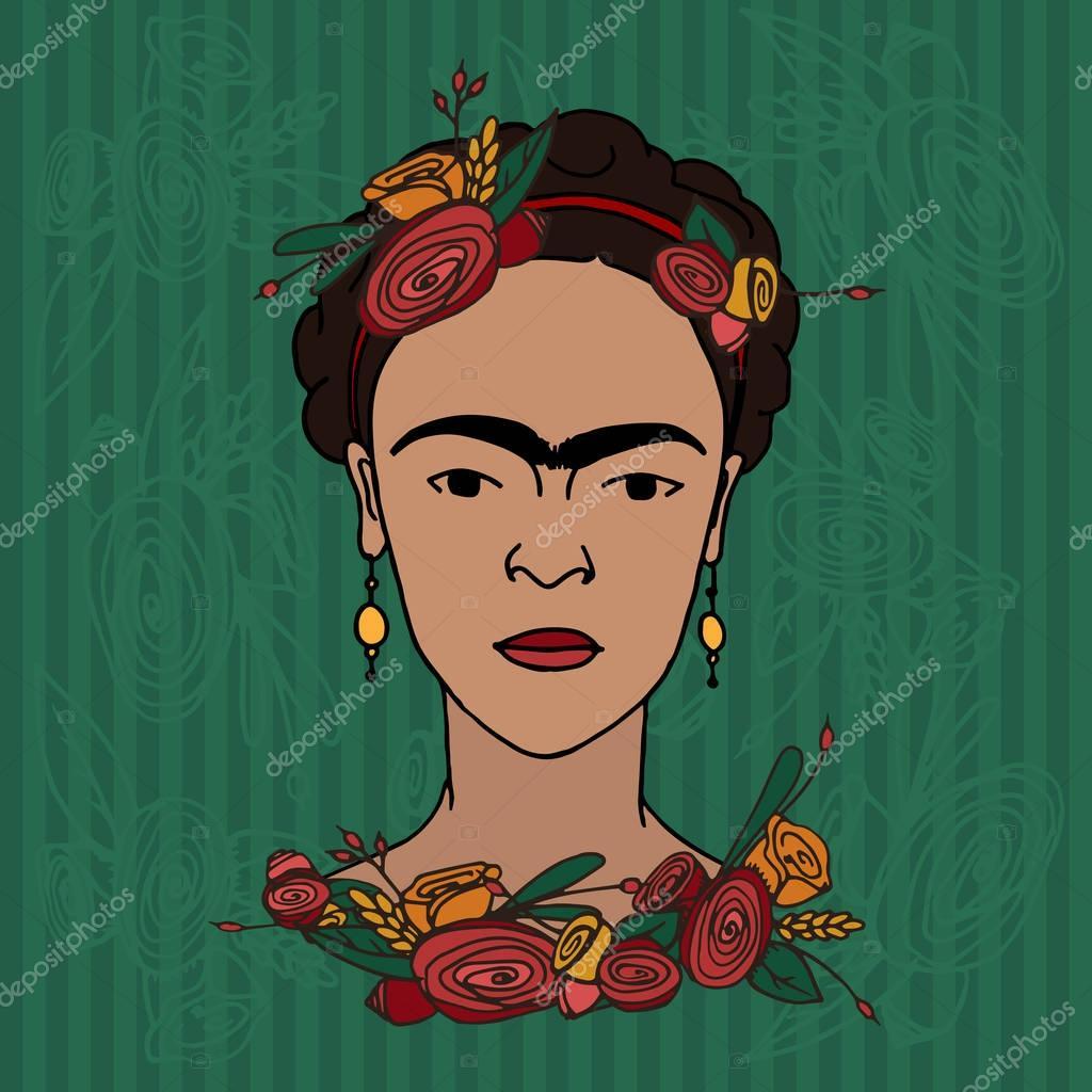 hand drawn Frida Kahlo