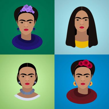 set of portraits of Frida Kahlo