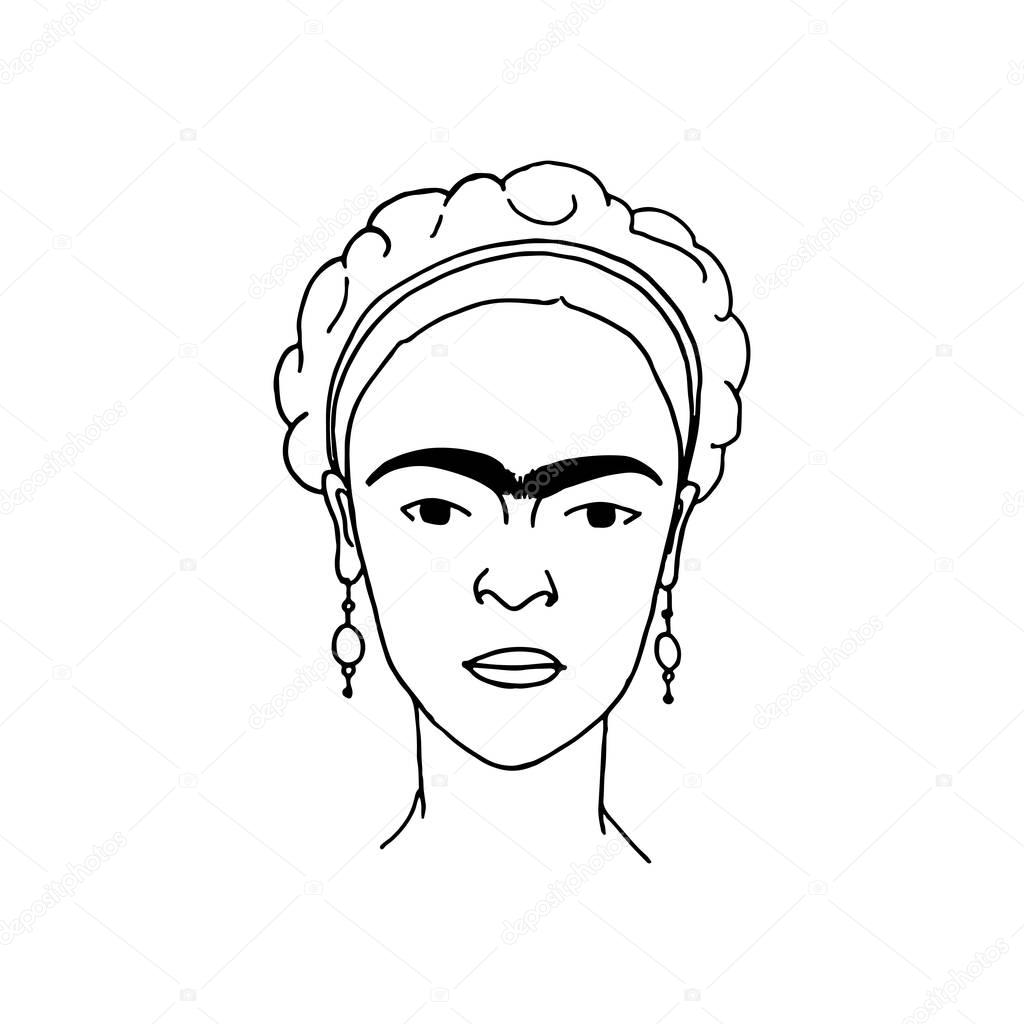 Frida Kahlo hand drawn