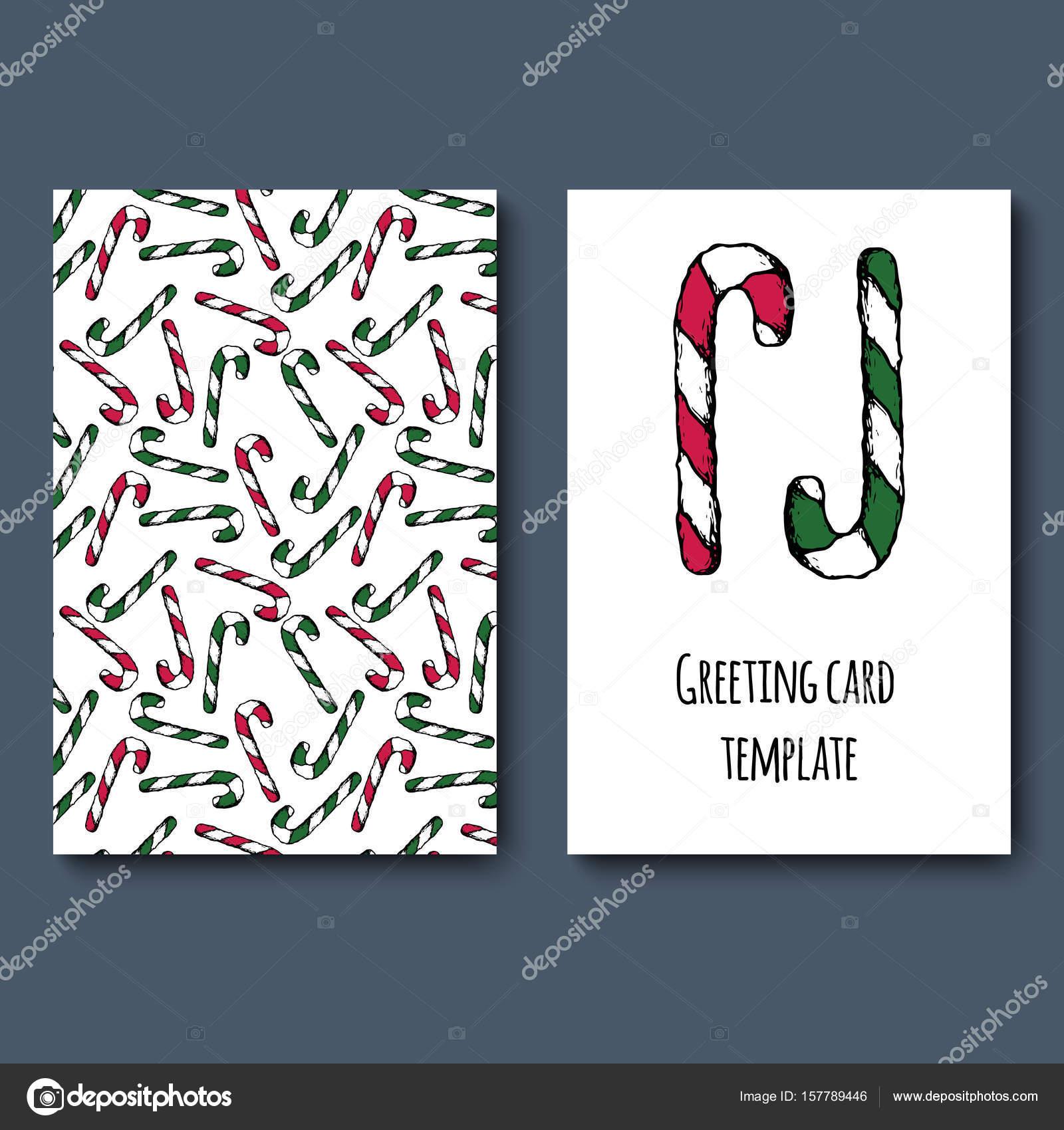 bastón de caramelo tarjeta de felicitación — Vector de stock ...