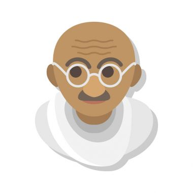 flat styled Gandhi portrait