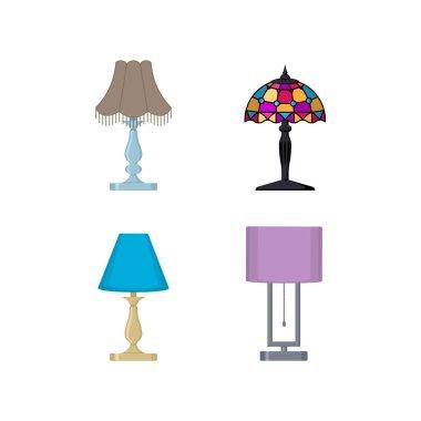 set of various desk lamps