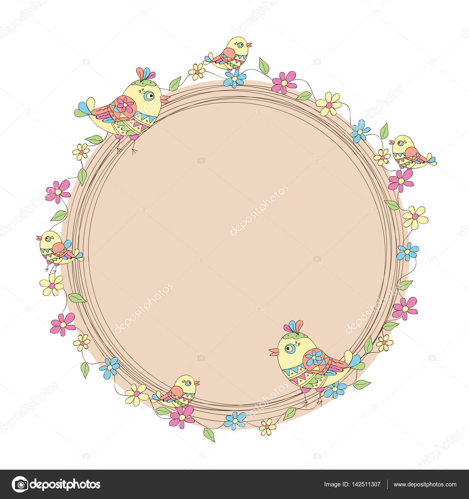Runde Rahmen mit Blumen und Vögel — Stockvektor © alina.ill.mail.ru ...