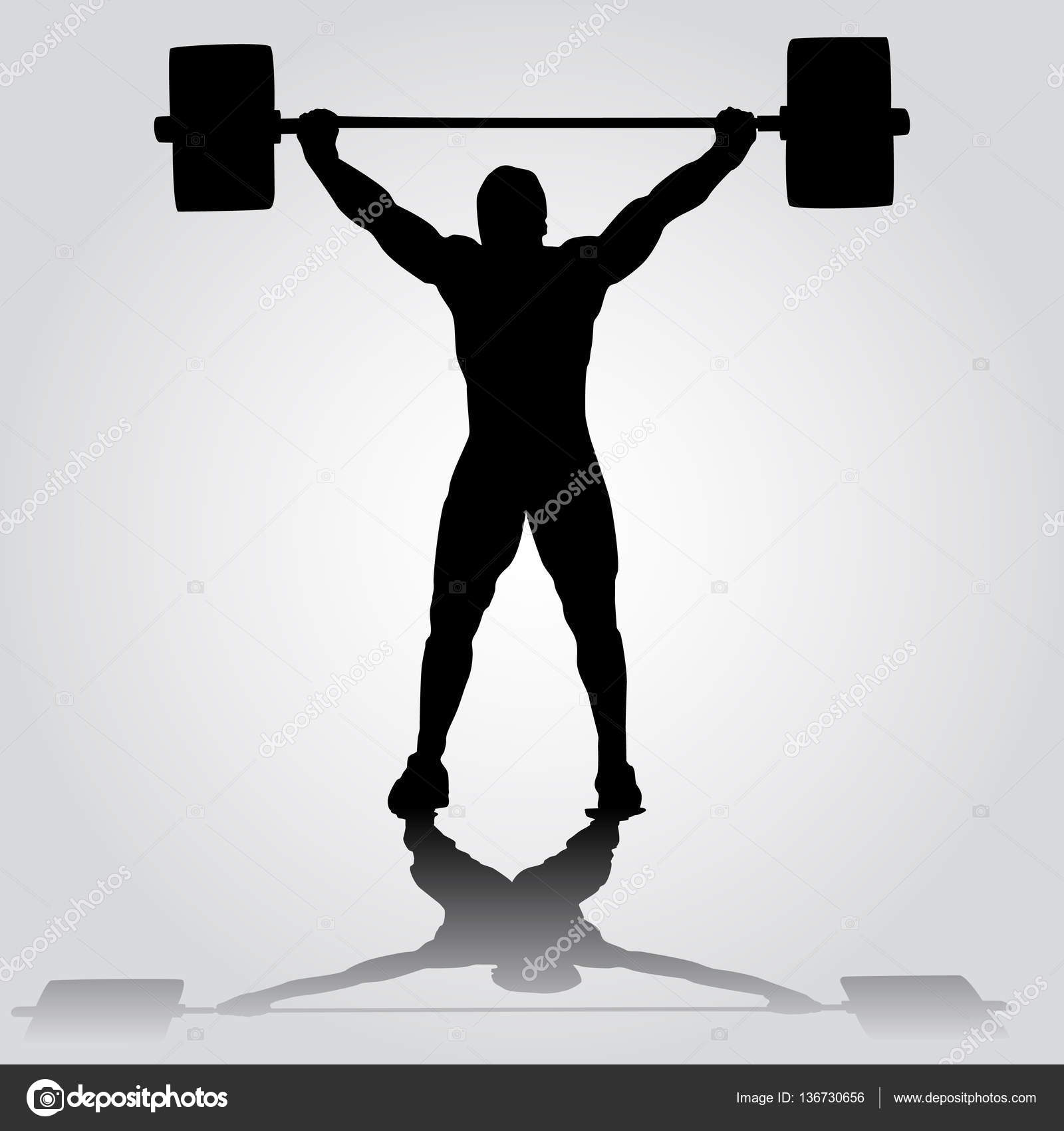 silhouette of athlete is doing snatch exercise weightlifting stock vector 136730656