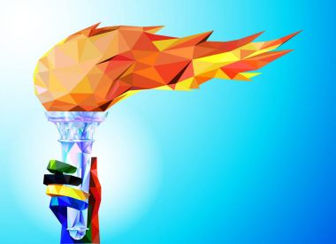Torch, Flame.  A hand from the Olympic ribbons holds the Cup with a torch on a blue background in a geometric triangle of XXIII style Winter games.