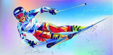 The polygonal colourful figure of a young man snowboarding with on a white and blue background. Vector illustration blue background in a geometric triangle of XXIII style Winter games