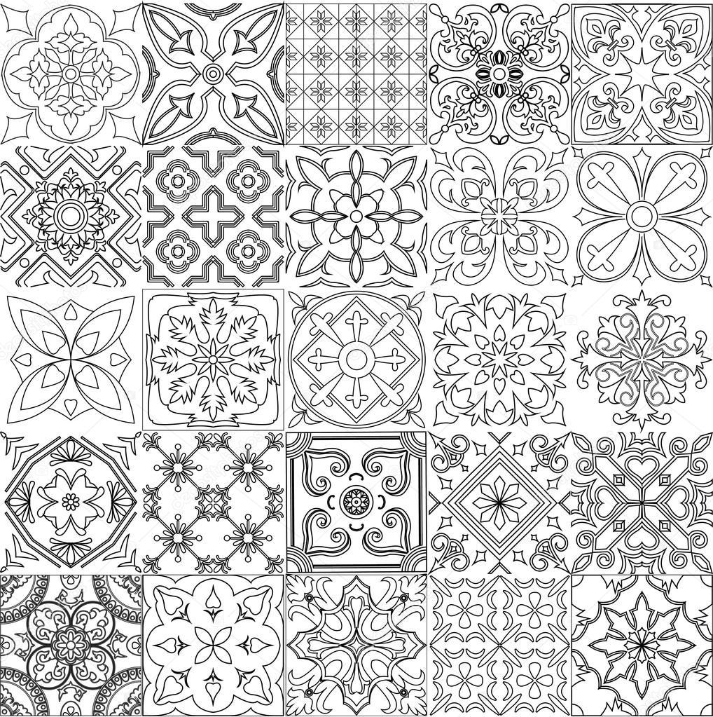 Gran juego de fondo de azulejos en blanco y negro for Azulejo a cuadros blanco y negro barato