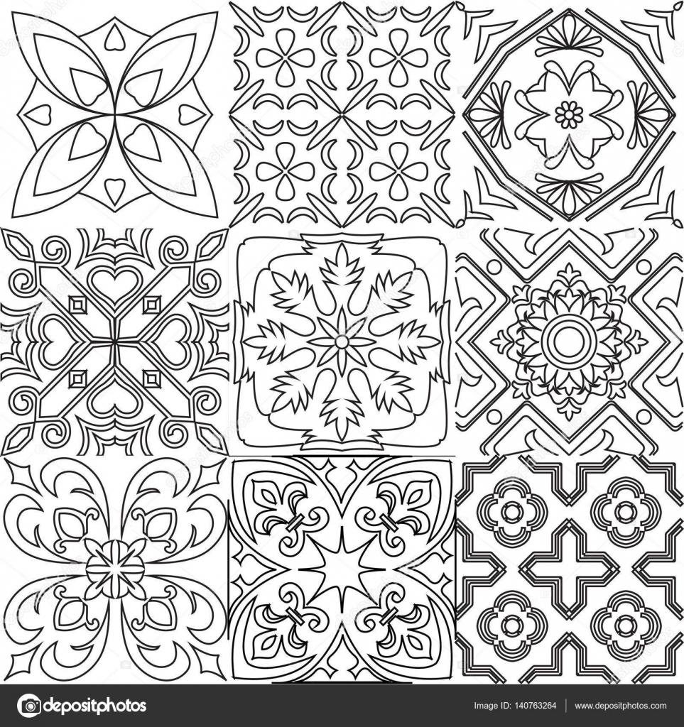 Grande insieme di vettore di priorit bassa bianco e nero - Colorare le mattonelle ...