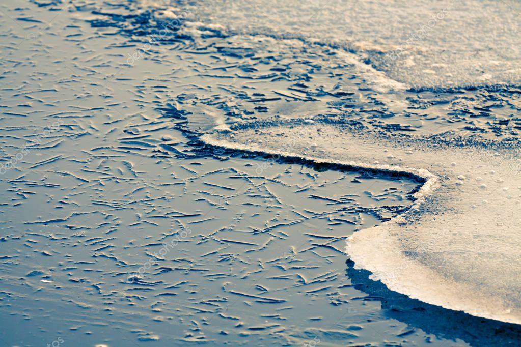 Nature background of freezing water