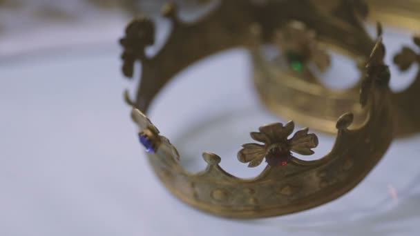 Wedding crowns on the white background