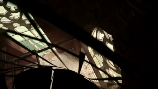 Walking upstairs in old Gothic church