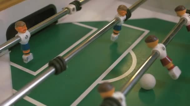 Table football match. Horizontal clise-up side photo. Goal