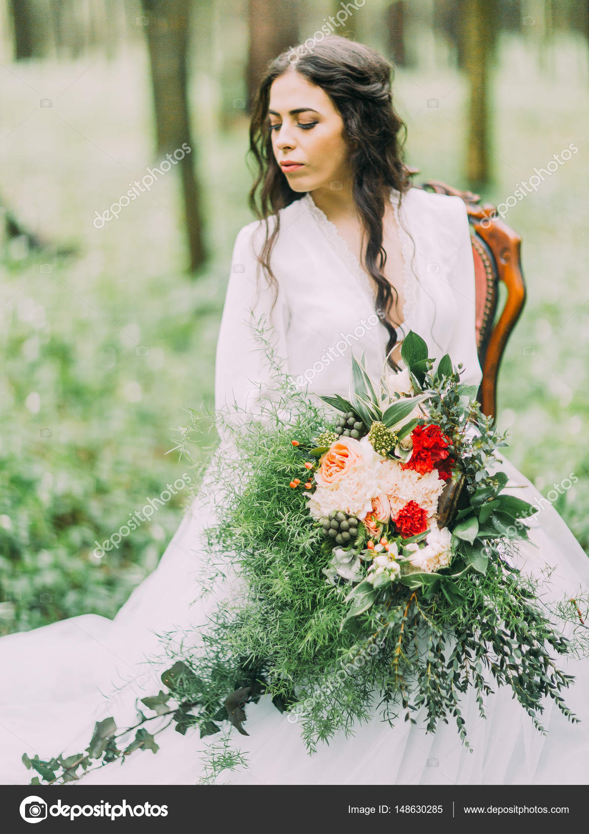 Vestido de novia blanco con verde