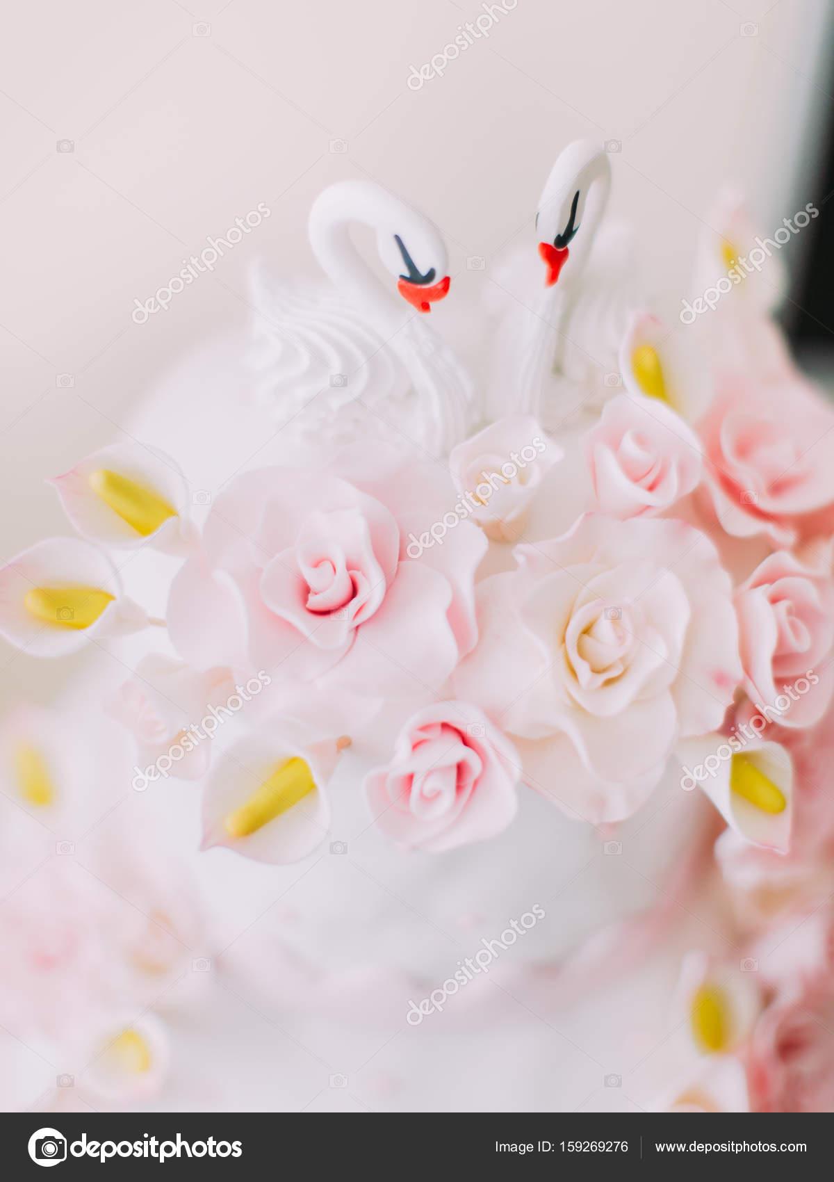 Die Kleine Schwane Schmucken Die Weisse Hochzeitstorte Mit Rosa