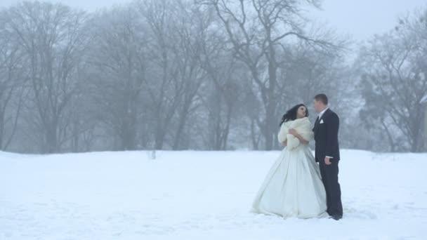 Full-length svatební portrét stylový snoubence novomanželé něžně objímat a líbat během sněžení na louce.