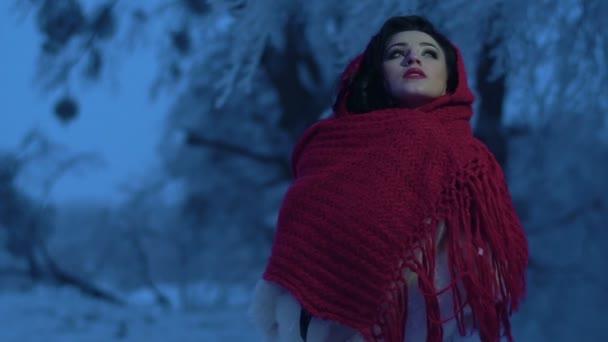 Portrét okouzlující brunetka nevěsty s červenou rtěnku zabalené v červená pletená šála při pohledu nad a pak fotoaparát zimní noci.