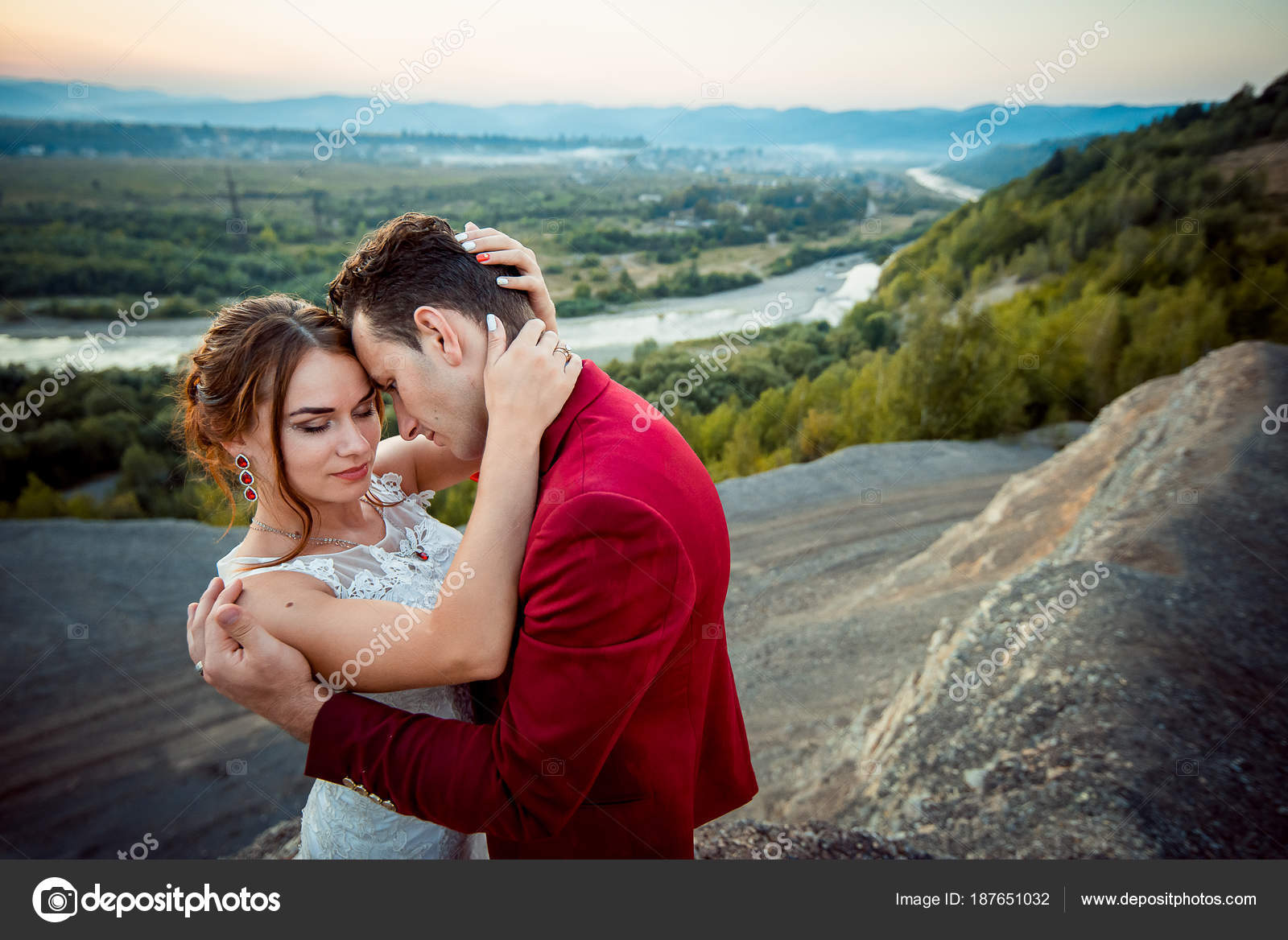 Wedding Outdoor Portrait Beautiful Newlyweds Are Tenderly