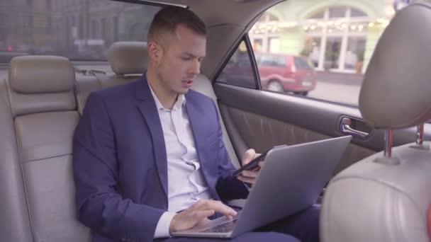 Portret obchodníka v modrém obleku sedí na zadním sedadle jedoucího auta, něco prohledává v telefonu, zatímco pracuje na notebooku, zatímco míří do kanceláře. Hezký vousatý pes se silnou tváří a