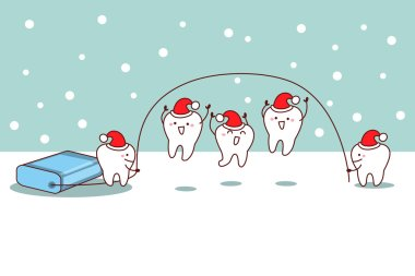 christmas cartoon tooth with floss