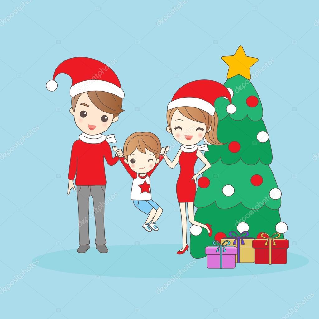Familia De Dibujos Animados De Navidad Archivo Imagenes - Dibujo-navidad