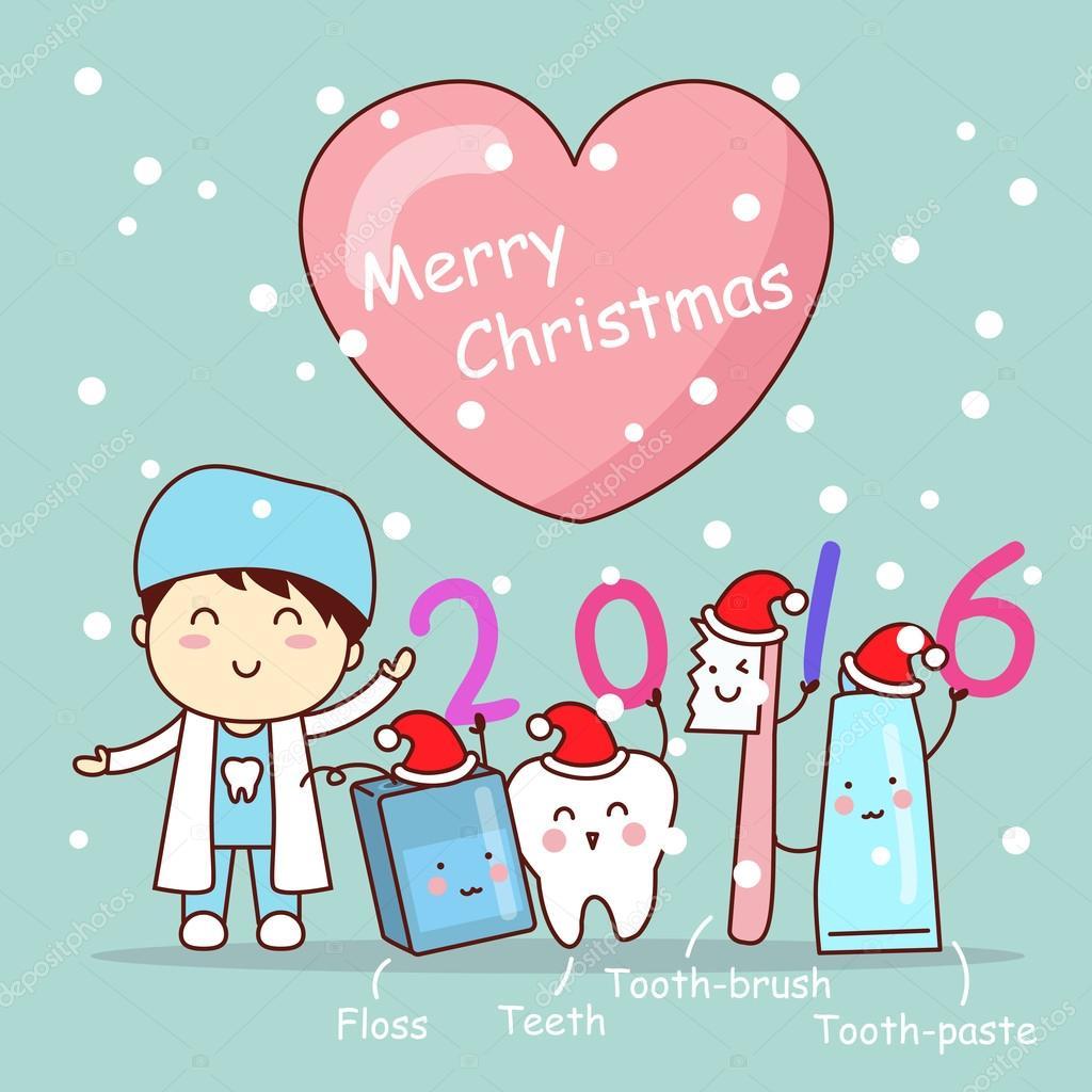 59c139fdc Natal e dentista bonito dos desenhos animados com a escova de dentes e fio  dental — Vetor de ...