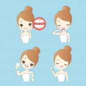 Cartoon woman clean her teeth