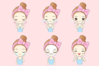 cartoon woman do facial care