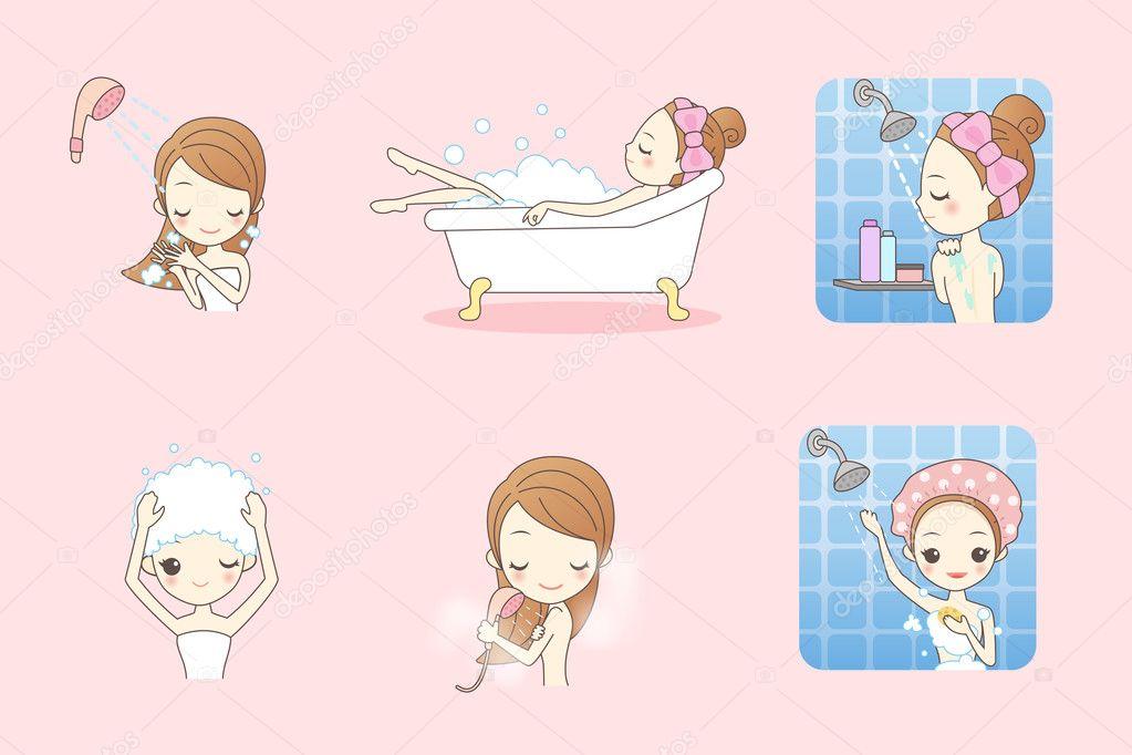 Cartoon young woman enjoy bath