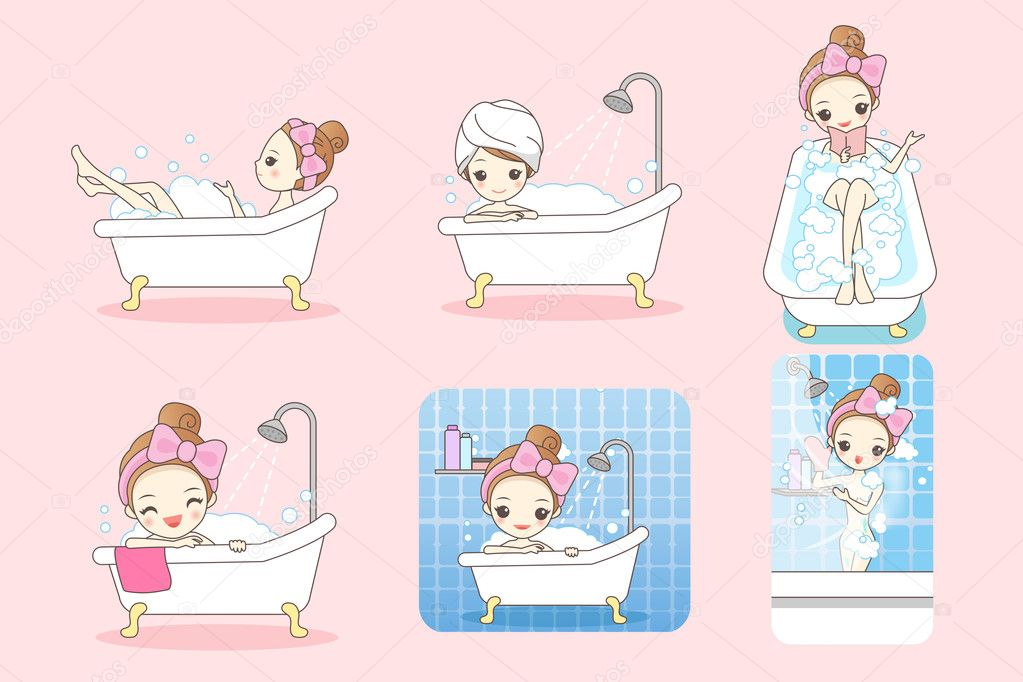cartoon woman is taking  bath
