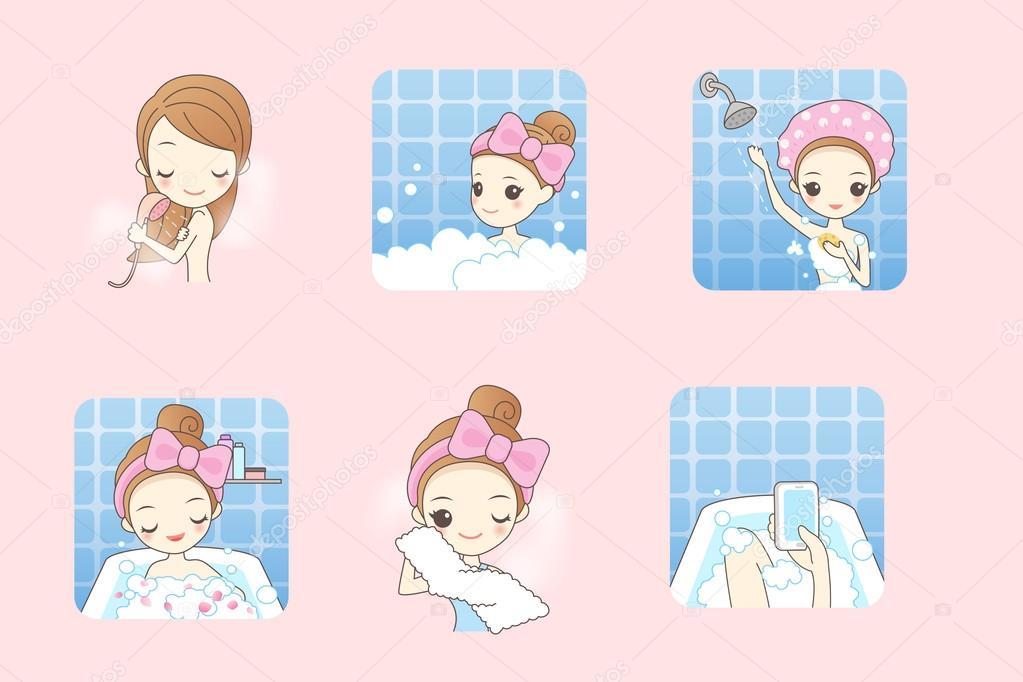 cartoon woman is taking  bath